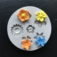 6 Flowers Silicone Cake Fondant Mold Rose Daisy Cookies Chocolate Mould Cake Border DIY