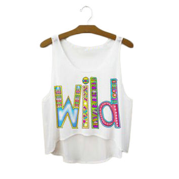 New Design Letters Loose Crop Tops Cute Girl Sexy Cropped Women Sports Tank Top Summer Harajuku Camisole Youth Elastic Vest F1017