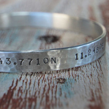 Valentine Gift-Gift for Him for Her-Personalized Latitude Longitude Coordinate Cuff Hammered Hand Engraved Add Your Own Sacred Coordinates
