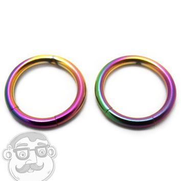 Rainbow Titanium Stainless Steel Segment Hoop Ring