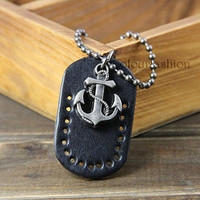 Navy, Anchor Chain, Black Leather Board, Retro Jewelry, Anchor Necklace, Charm Jewelry, Vintage Style, His and Hers, Gift for Lover  SC-12