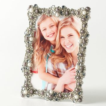 Enchante Accessories Belle Maison Jeweled 4'' x 6'' Frame (Grey)