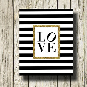 LOVE Gold Glitter Print Black and White Stripe Printable Instant Download Digital Art Print Wall Art Home Decor G133bwgst