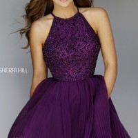 Beaded Sheer Dress by Sherri Hill