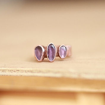Raw Amethyst Ring Raw Crystal Ring Raw Stone Ring Statement Ring Birthstone Ring Statement Ring Cocktail Ring Stacking Ring Size 7.5