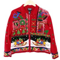 Teddy Bear Toboggan Tacky Ugly Christmas Sweater