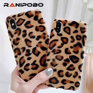 Cute Lovely Leopard Furry Phone Case For iPhone X XS XR XS Max 6 6S 7 8 Plus warm hair winter protection Soft TPU Back Cover