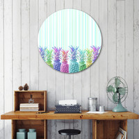 «Pastel Jungle and Stripes», Exclusive Edition Disk Print by Lisa Argyropoulos - From $59 - Curioos