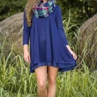 By The Fireside Dress-Navy