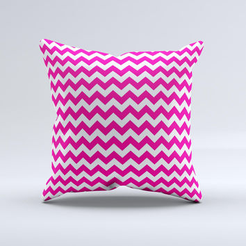 Pink & White Chevron Pattern  Ink-Fuzed Decorative Throw Pillow