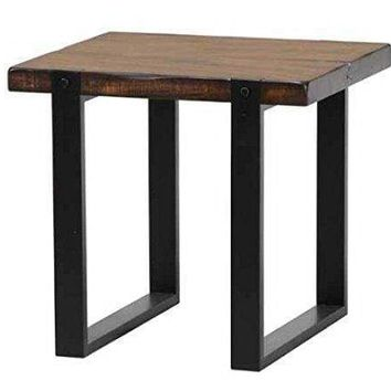 Minimalist End Table With Metal Base & Wooden Top, Brown - 703427