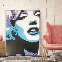 1 Piece Frameless Modern Wall Art Painting Print Canvas Painting Marilyn Monroe Wall Decoration for Living Room Bedroom Home Off
