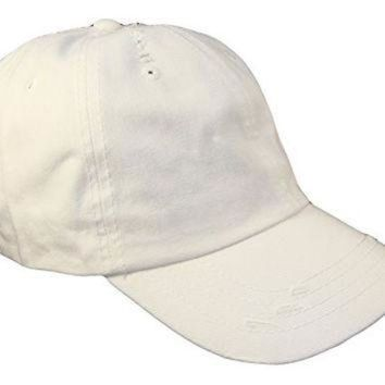 ESBONS Distressed Weathered Vintage Polo Style Baseball Cap (One Size, White)
