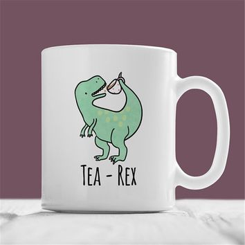 Tea-Rex Mug, Cute Hand Illustrated Dinosaur Coffee Ceramic Mug, Funny Nerd Geek T-Rex Animal Birthday Christmas, Gift For Him, G
