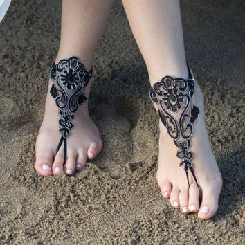 Beach wedding Barefoot Sandals Black Silver Lace Sandals, Bridal Barefoot Sandals, Bridal Lace Shoes, Anklets Sexy Bellydance steampunk