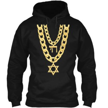 Jew Chai Bling Chain Hanukkah Festival Of Lights Jew  Pullover Hoodie 8 oz