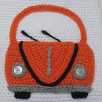 Crochet --- PATTERN --- Volkswagen Bug Car Applique Motif PDF