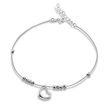 Sinya 925 Sterling silver Anklets Bracelet with heart charms for women girls lover 2017 Valentine's Day gift 21.5cm+2.5cm Length