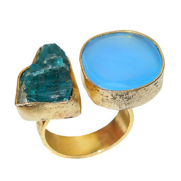 Aqua Blue Chalcedony Ring - Gemstone Ring - Raw Apatite Ring - Rough Stone Ring - Bezel-Set Ring, Gold Ring, Gold Plated Ring, Gemstone Ring