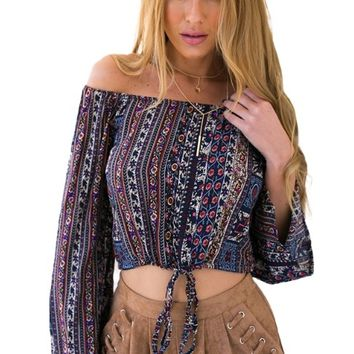 Off Shoulder Tribal Blouse