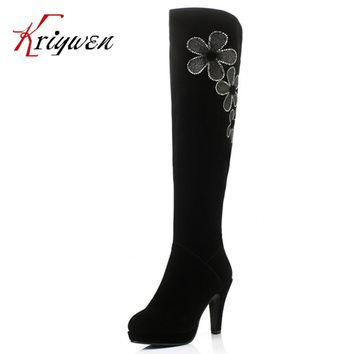 Big Size34-40 Women's Spring/Autumn Winter Folding Over Knee Boots Sexy Thin High Heel Boots Fashion platforms Boots Women Shoes
