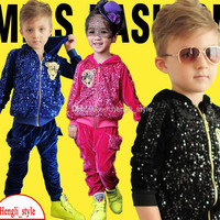 Spring&Autumn Children 2-pcs Outfits Hot Kid Velvet Sequins Hooded Coat+Pants 2-Piece Suits/Sets Children's Clothing With Tiger Pattern