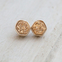 Geometric Druzy Stud Earrings, Gilded Hexagon Posts, 14k Gold Filled Minimalist Fashion, Fall Gift Ideas