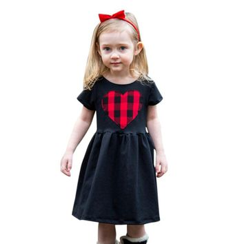 Summer Kids Boutique Striped Clothes Baby Girls Princess Heart Print Dress