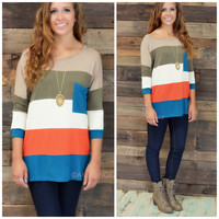 Castle Harbor Rust & Olive Colorblock Pocket Tunic