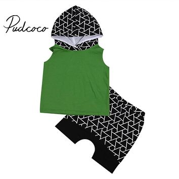 Summer Toddler Baby Boy Clothes Sleeveless Tops Vest With Hat Shorts Outfits Tracksuit