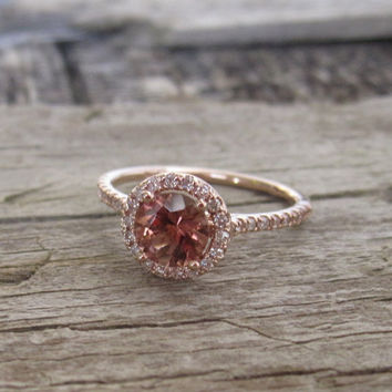 Rubelite Pink Tourmaline Diamond Engagement Halo Ring in 14K Rose Gold