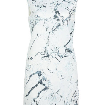 White Tank Top Dress in Paint Print