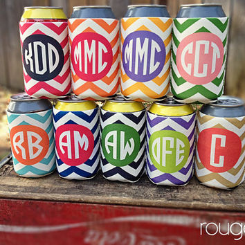 chevron koozie with monogram  choose from 9 by rougeandco on Etsy