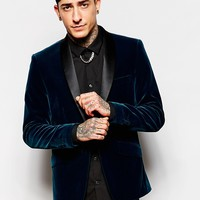 Devils Advocate Plain Velvet Shawl Collar Jacket at asos.com