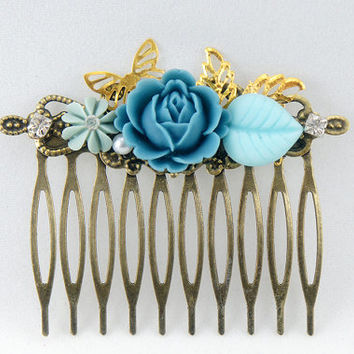 Royal Blue English Rose Shabby Chic Rhinestone Collage Comb - OOAK Victorian Style Shabby Chic Flower Collage Hair Comb - VCC017