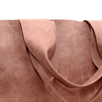 Rose Quartz Tote bag, Large Leather Tote, Durable Tote, Leather Shopper, Real leather, Leather handbag, Evening Tote, Students bag, Branding