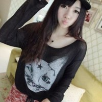 Kawaii Cat Printing Knitting Pullover - Black or Grey from Tobi's Finds
