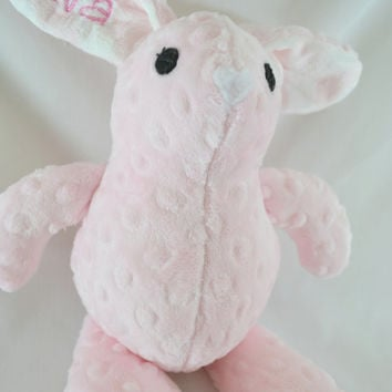 Personalized Custom Minky or Fleece Stuffed Baby Bunny, Easter Rabbit Plush Toy, Monogram Plush - Baby Shower Gift, Easter - Made to Order