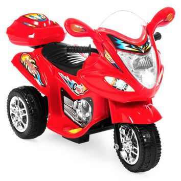 Kids 3-Wheel Motorcycle Ride-On Toy w/ LED Lights, Music, Storage