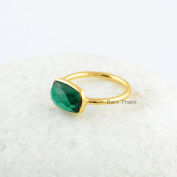 Silver Ring-18k Gold Plated Sterling Silver-Emerald Quartz 7x11mm Gemstone Bezel Ring-Gemstone Silver Ring For Christmas Day