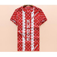 LV X Supreme co-branded 2018 summer casual loose round neck T-shirt F-A00FS-GJ Red