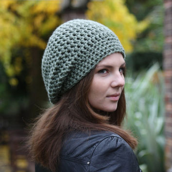 Hand Crocheted Hat Women's Slouchy Beanie Hat in Sandalwood Fall Fashion