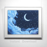 Moon print, Oil painting, print, Printable wall art, Original printable painting, wall art,MOON,digital poster print, INSTANT DOWNLOAD