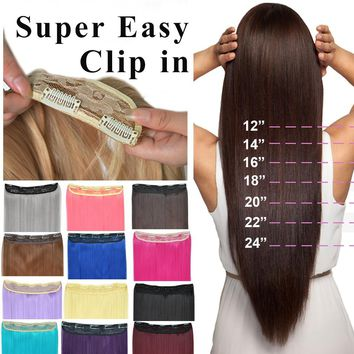 "16"" 18"" 20"" 22"" 24"" Long Straight Clip in Hair Extensions Hairpieces"