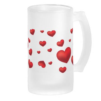 stunning red hearts 16 oz frosted glass beer mug