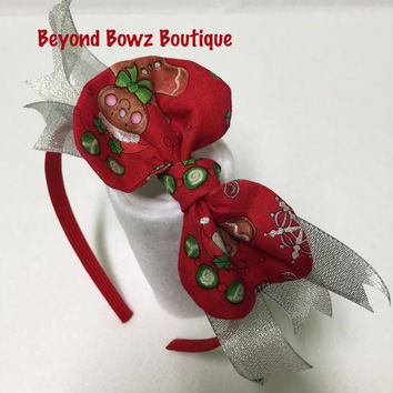 New product in my shop! Headband Bowz! Fabric bows with ribbon. On a rigid type headband. Christmas gingerbread bow fabric.