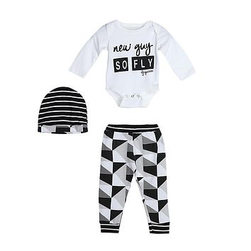 Toddler Kids Long Sleeve Letter Print Tops Pants Hat Outfit  3pcs set Baby Clothes