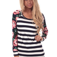 Navy Striped Top with Floral Sleeves