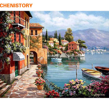 CHENISTORY Romantic Harbor DIY Painting By Numbers Landscape Canvas Painting Home Decor For Living Room Wall Art Picture 40x50cm