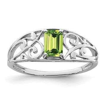 Sterling Silver Em. Cut Peridot Filigree Ring